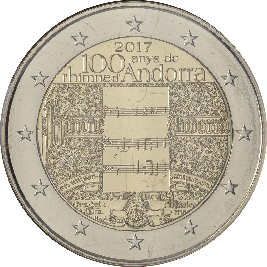 Rückseite:Andorra : 2 Euro 100 Jahre Hymne Andorras  2017 Stgl.