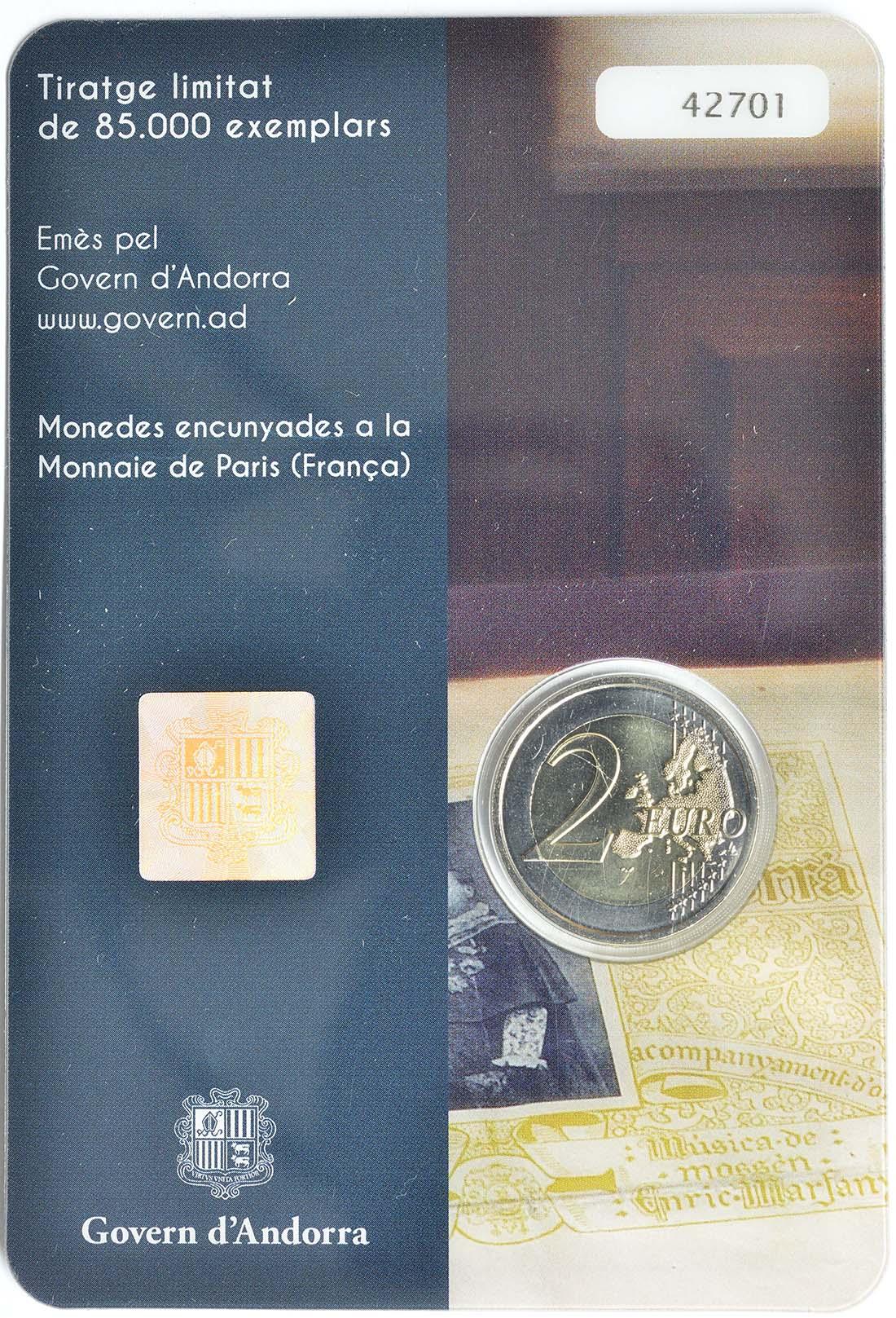 Zertifikat:Andorra : 2 Euro 100 Jahre Hymne Andorras  2017 Stgl.