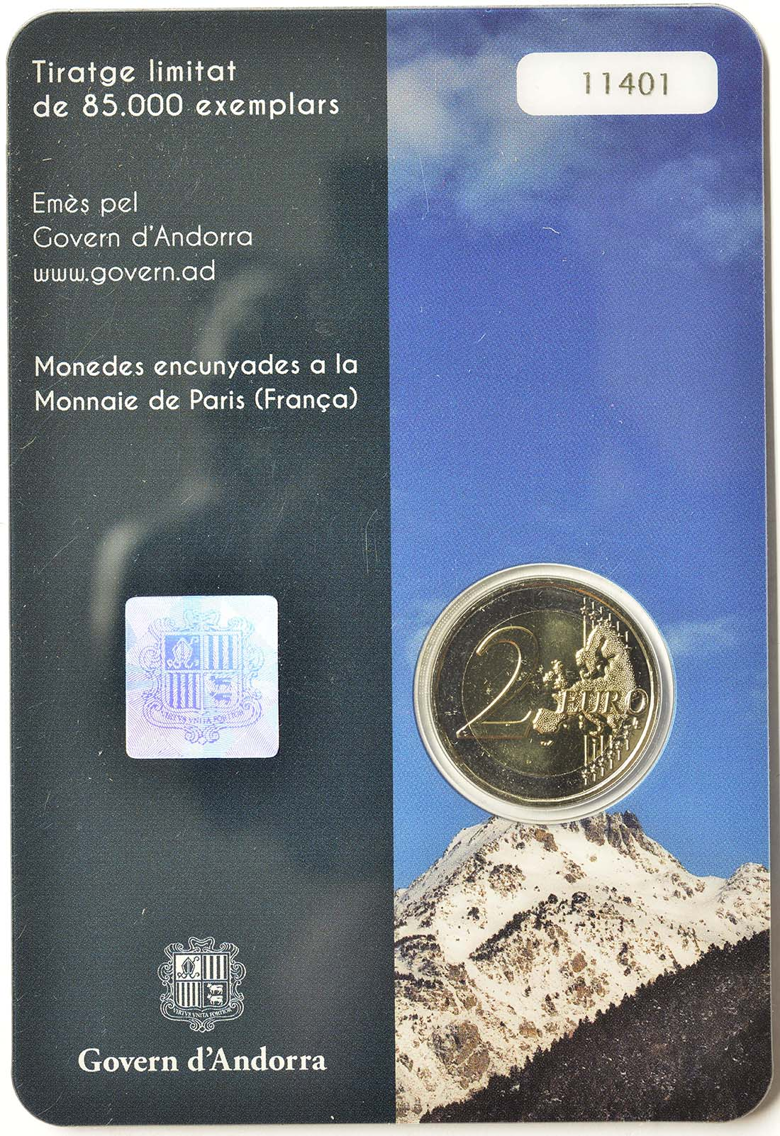 Zertifikat:Andorra : 2 Euro Andorra - Das Land in den Pyrenäen  2017 bfr