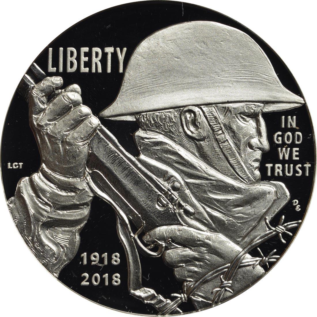 Vorderseite :USA : 1 Dollar 100 Jahre Ende WW1  2018 PP
