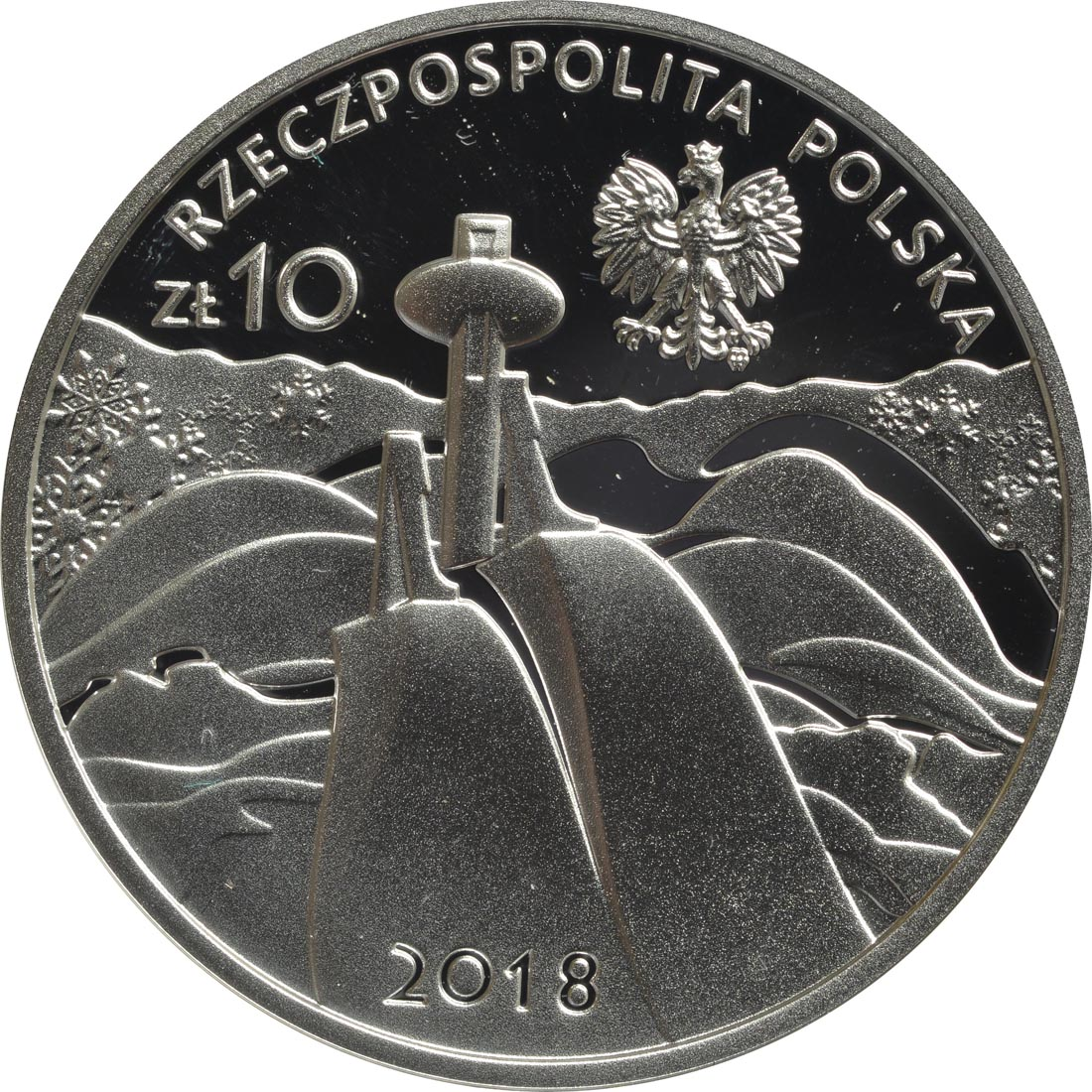 Rückseite:Polen : 10 Zloty Olympia Team zur Oly Pyeong Chang  2018 PP