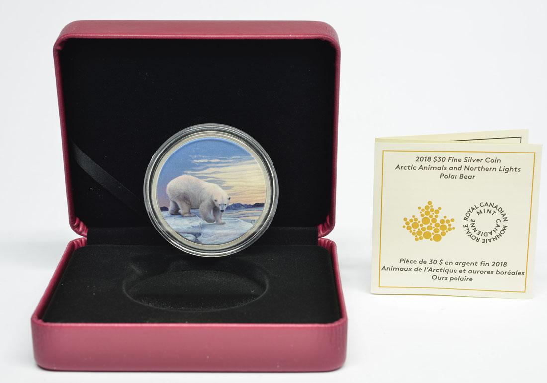 Kanada : 30 Dollar Arktische Tiere und Nordlicht - Eisbär  2018 PP