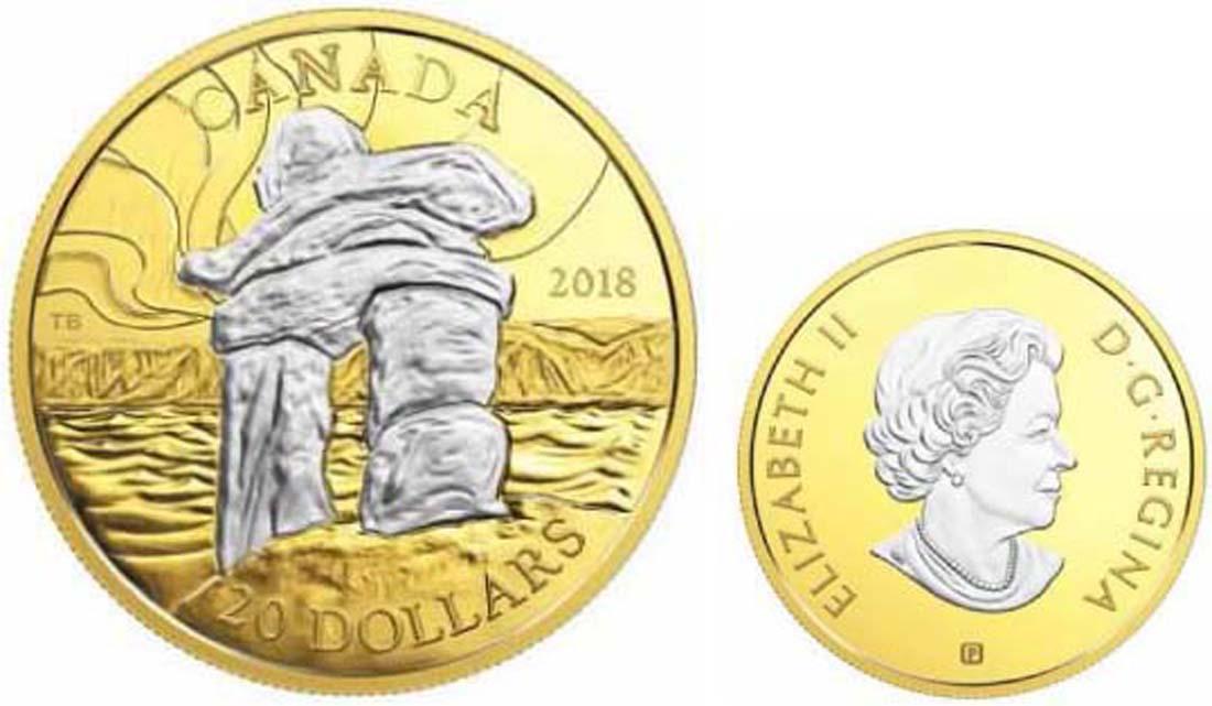 Kanada : 20 Dollar Inukshuk - Steindenkmal der Inuit  2018 PP