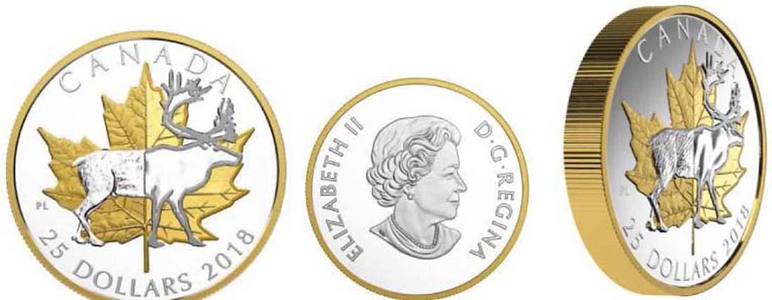 Übersicht:Kanada : 25 Dollar 2018 Zeitlose Ikonen - Maple Leaf u. Karibu - Piedfort  2018 PP