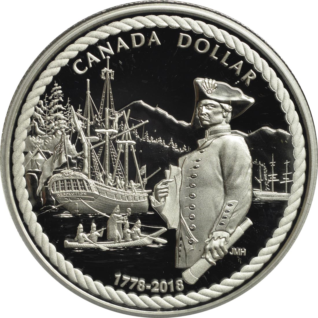 Vorderseite :Kanada : 1 Dollar Captain Cook - 240 Jahre Entdeckung des Nootka Sounds  2018 PP