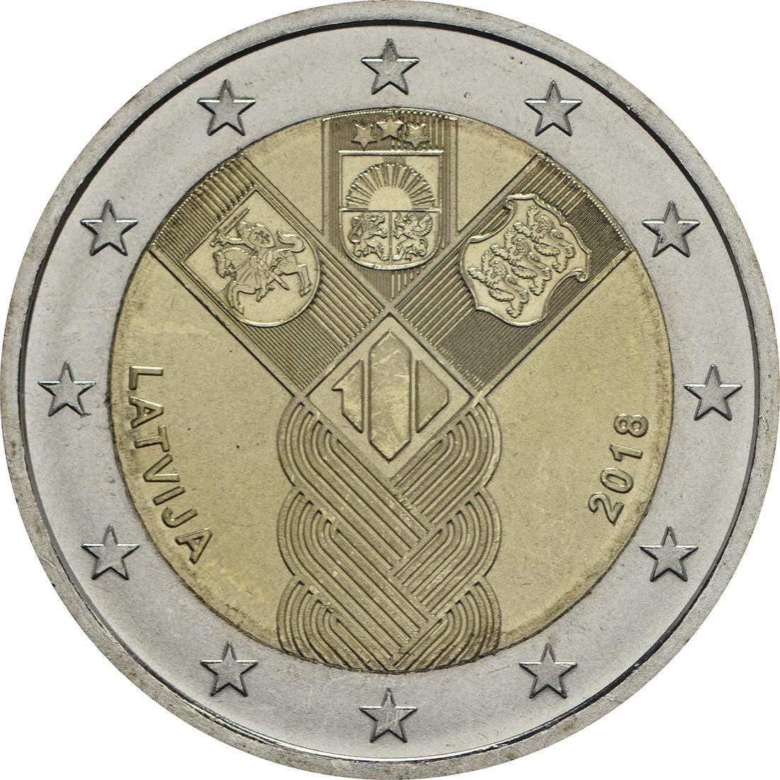 Rückseite:Lettland : 2 Euro 100 Jahre Unabhängigkeit  2018 bfr