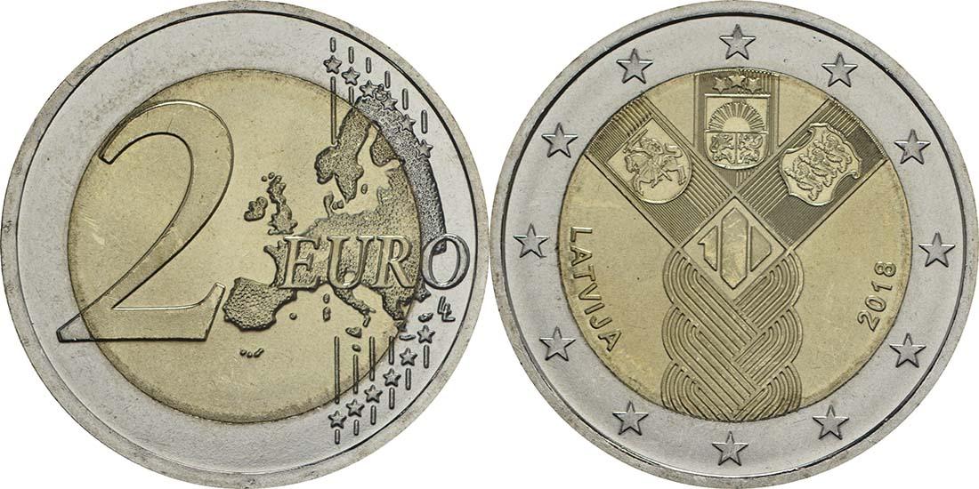 Lieferumfang:Lettland : 2 Euro 100 Jahre Unabhängigkeit  2018 bfr