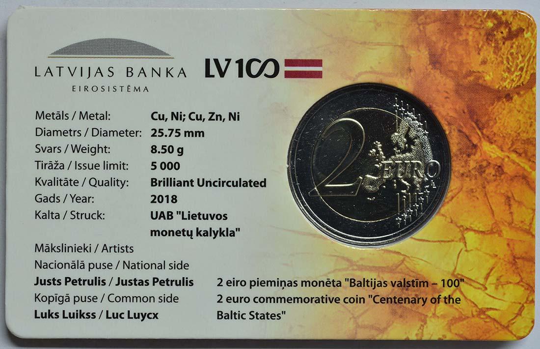 Zertifikat:Lettland : 2 Euro 100 Jahre Unabhängigkeit  2018 bfr