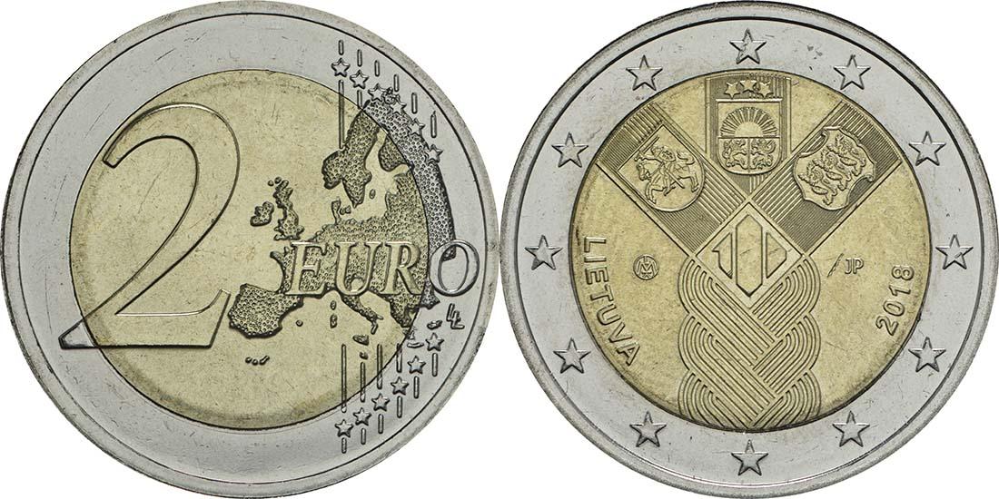 Übersicht:Litauen : 2 Euro 100 Jahre Unabhängigkeit  2018 bfr