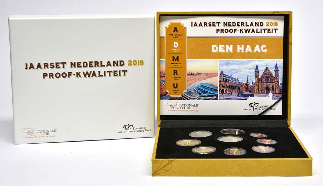 Niederlande : 5,88 Euro KMS Niederlande - 1 Cent - 2 Euro mit neuem Münzmeisterzeichen inkl. 2 Euro mit vergoldeten Europasternen  2018 PP