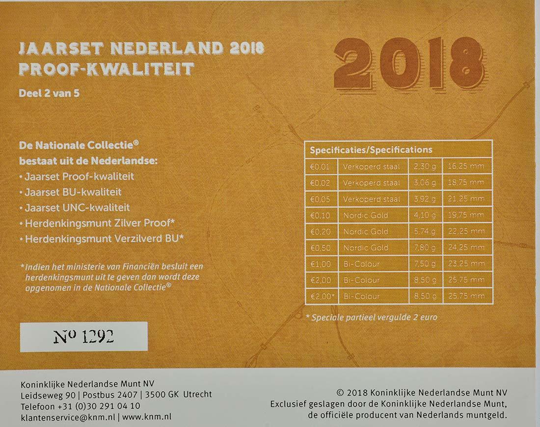 Zertifikat:Niederlande : 5,88 Euro KMS Niederlande - 1 Cent - 2 Euro mit neuem Münzmeisterzeichen inkl. 2 Euro mit vergoldeten Europasternen  2018 PP
