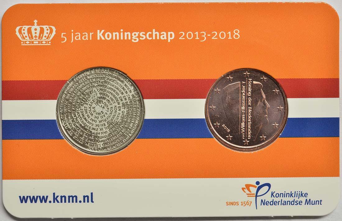 Niederlande : 5 Cent 5 Jahre König Wilhelm Alexander + Medaille  2018 bfr