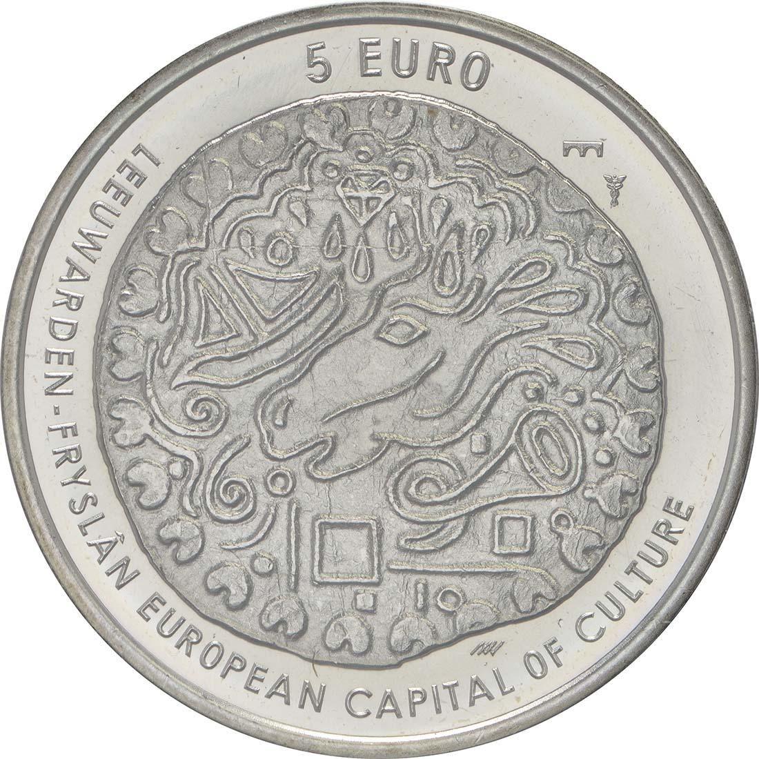 Vorderseite :Niederlande : 5 Euro Leeuwarden Europäische Kulturhauptstsadt  2018 bfr