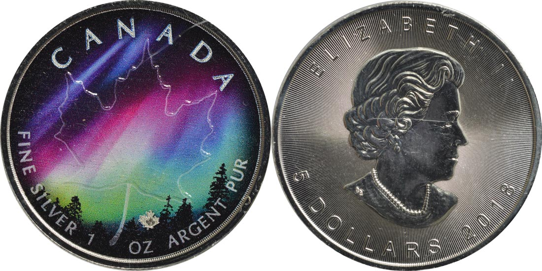 Kanada : 5 Dollar Maple Leaf - Nordlichter Alberta  2018 Stgl.