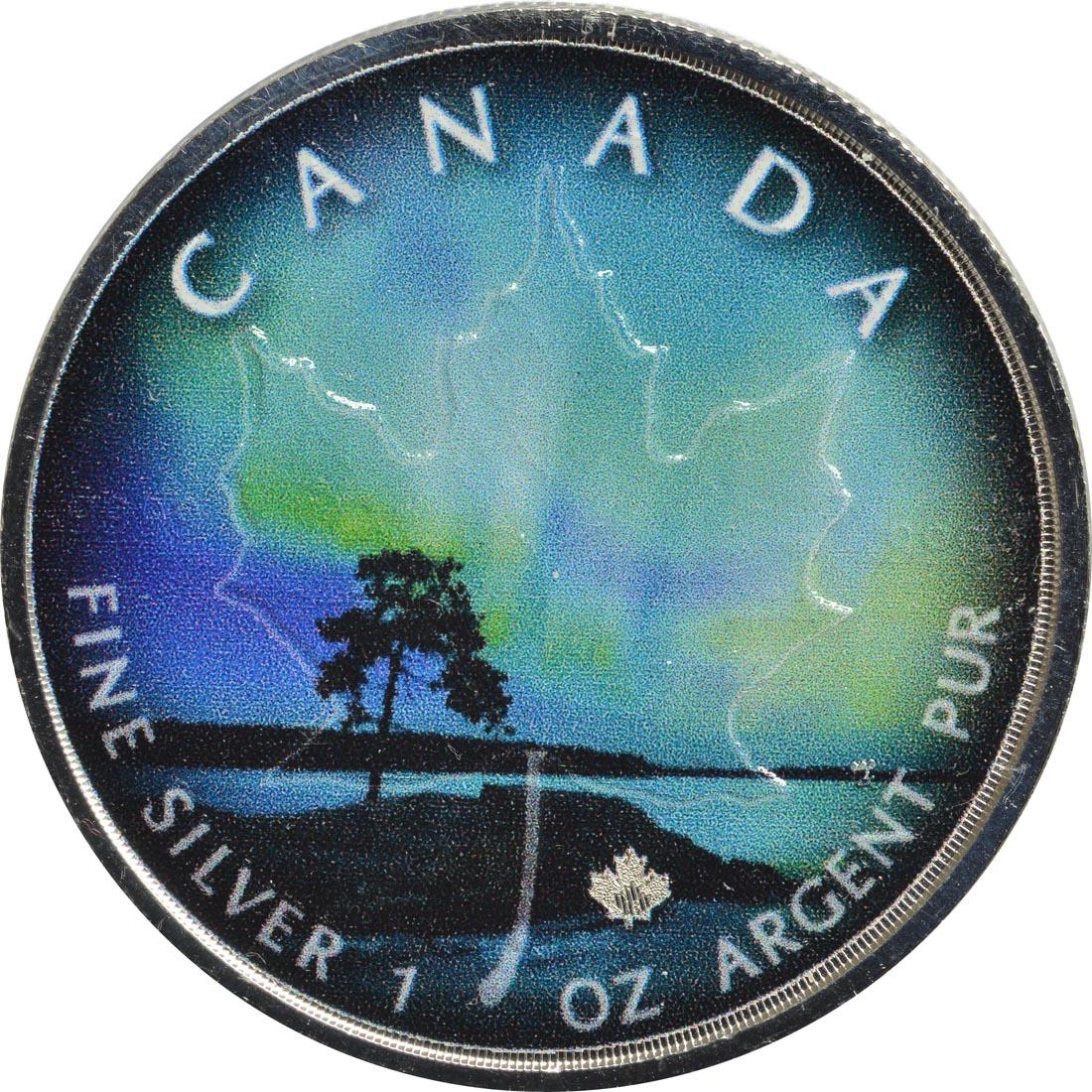 Vorderseite :Kanada : 5 Dollar Maple Leaf - Nordlichter Quebec  2018 Stgl.