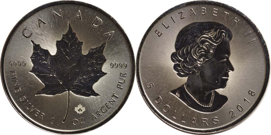 Kanada : 5 Dollar 30 Jahre Maple Leaf - Incuse - Tiefprägung  2018 Stgl.