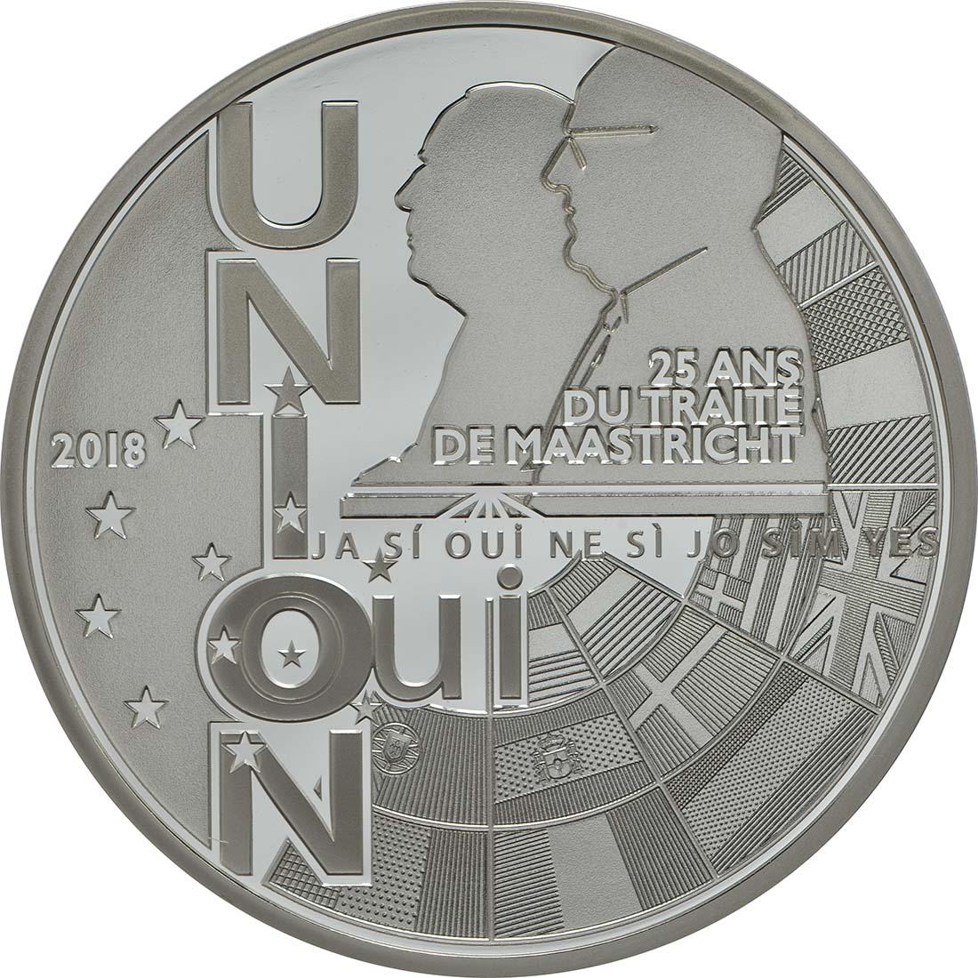 Vorderseite:Frankreich : 10 Euro Vertrag von Maastricht  2018 PP