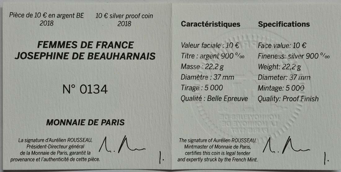 Zertifikat:Frankreich : 10 Euro Joséphine de Beauharnais  2018 PP