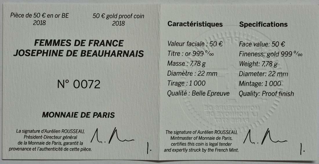 Zertifikat:Frankreich : 50 Euro Joséphine de Beauharnais  2018 PP