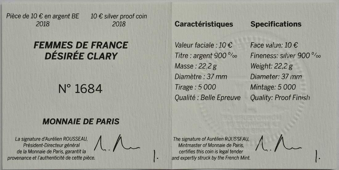 Zertifikat :Frankreich : 10 Euro Désirée Clary  2018 PP