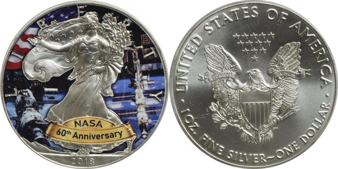 USA : 1 Dollar Silber Eagle - 60 Jahre NASA - ISS  2018 Stgl.