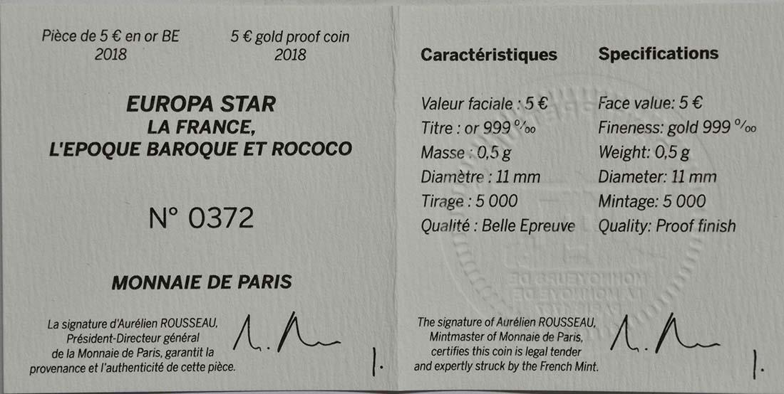 Zertifikat :Frankreich : 5 Euro Barock und Rokoko  2018 PP