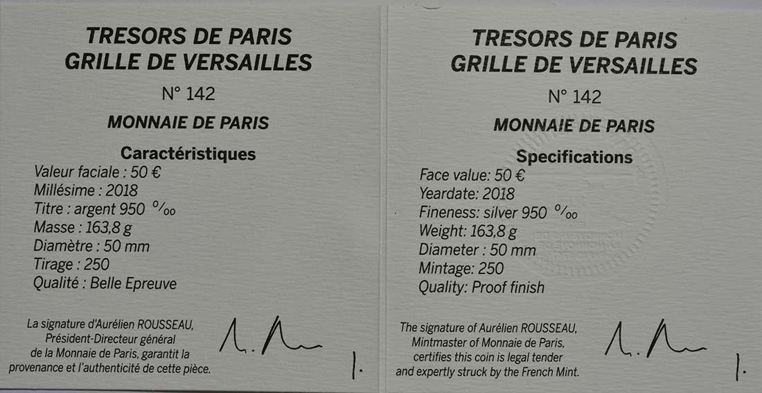 Zertifikat:Frankreich : 50 Euro Tor des Schlosses von Versailles  2018 PP