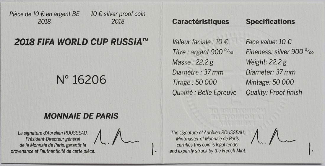 Zertifikat:Frankreich : 10 Euro FIFA Fußball WM  2018 PP