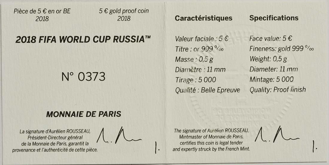 Zertifikat:Frankreich : 5 Euro FIFA Fußball WM  2018 PP