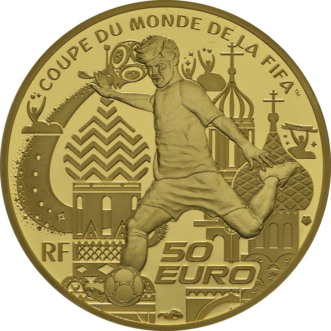 Rückseite :Frankreich : 50 Euro FIFA Fußball WM  2018 PP