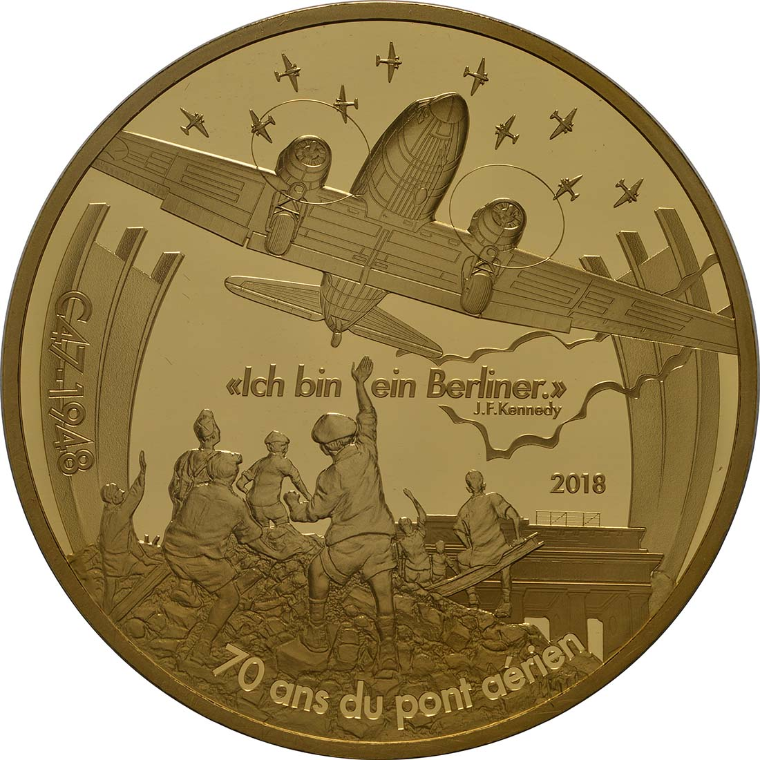 Rückseite:Frankreich : 500 Euro Dakota C-47 / Luftbrücke Berlin  2018 PP