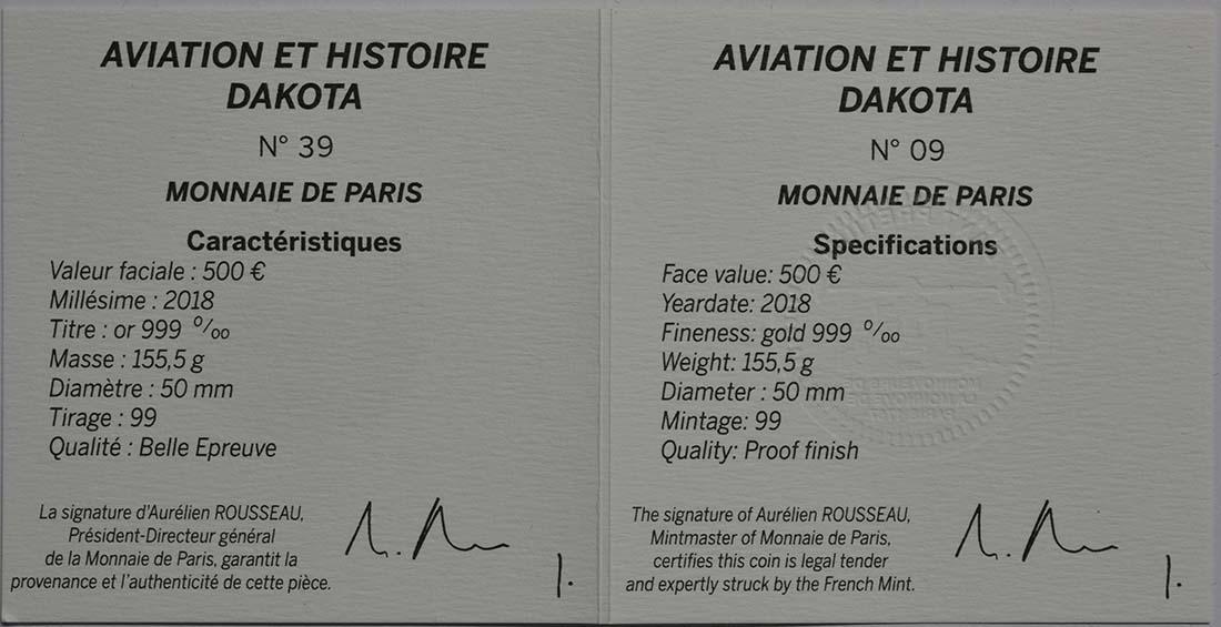 Zertifikat:Frankreich : 500 Euro Dakota C-47 / Luftbrücke Berlin  2018 PP
