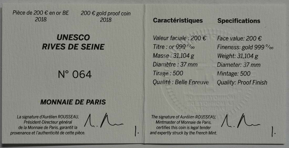 Zertifikat:Frankreich : 200 Euro Louvre  2018 PP