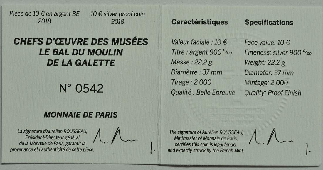 Zertifikat:Frankreich : 10 Euro Bal du Moulin de la Galette  2018 PP