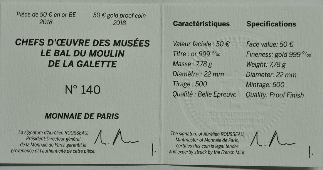Zertifikat:Frankreich : 50 Euro Bal du Moulin de la Galette  2018 PP