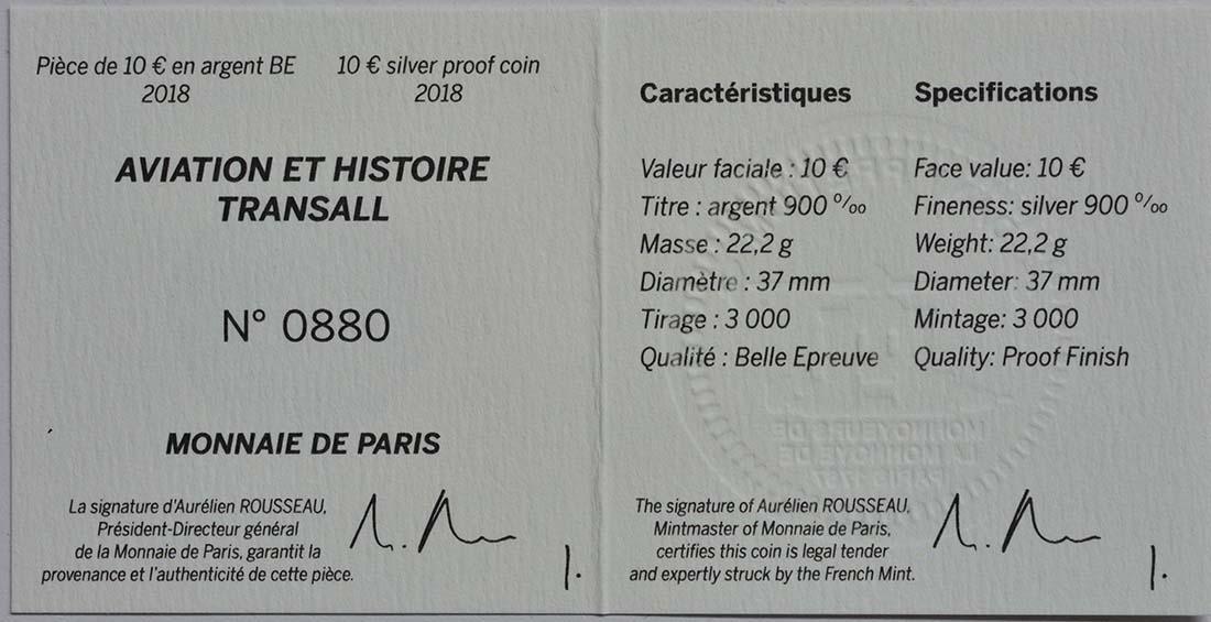 Zertifikat:Frankreich : 10 Euro Transall / Luftbrücke Berlin  2018 PP