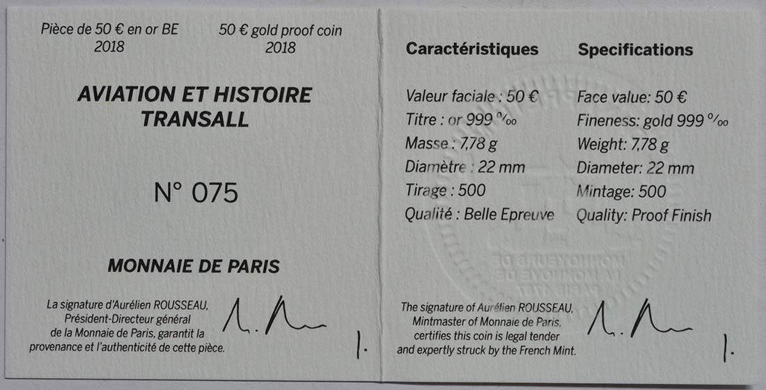 Zertifikat:Frankreich : 50 Euro Transall / Luftbrücke Berlin  2018 PP