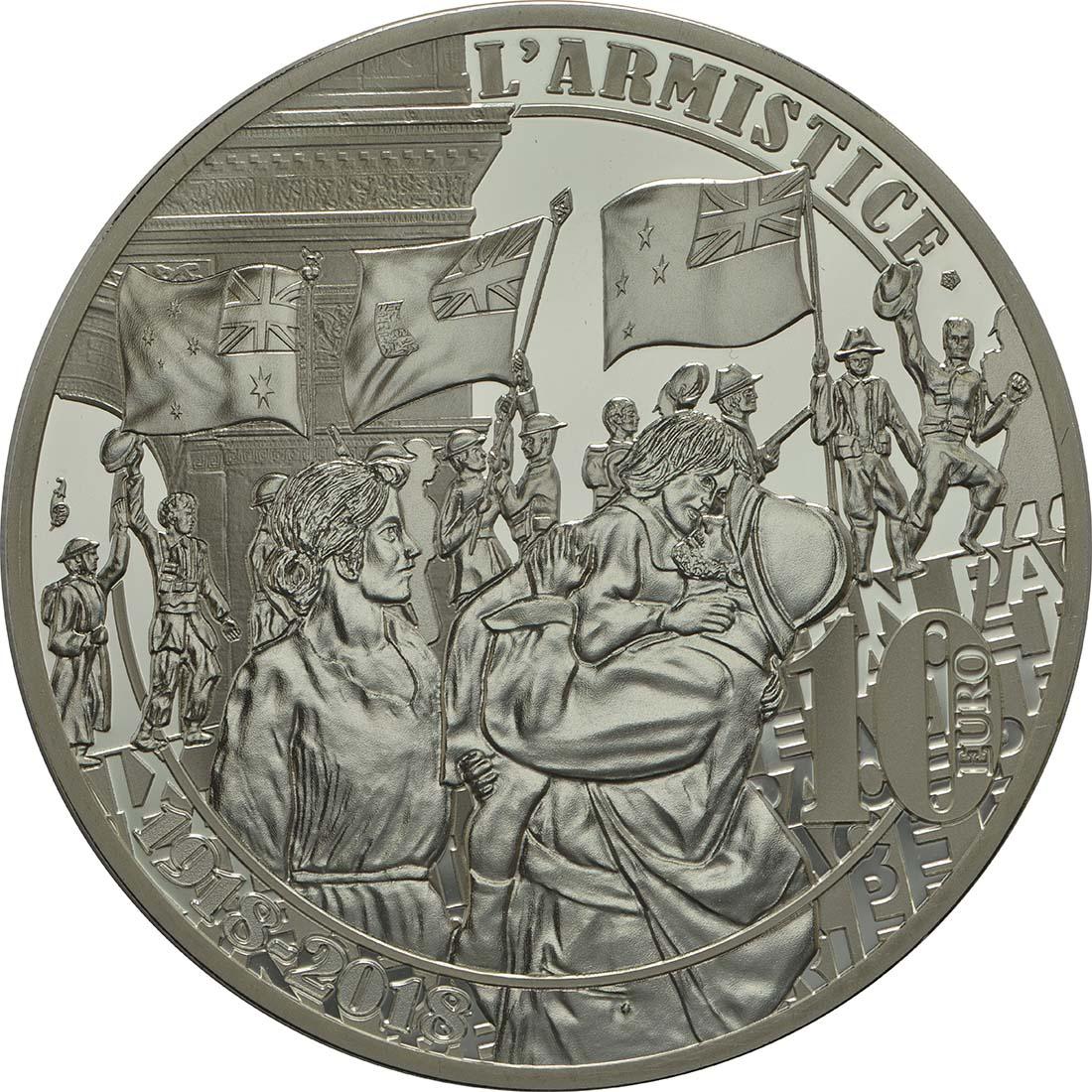 Rückseite :Frankreich : 10 Euro Jubel der Menschen  2018 PP