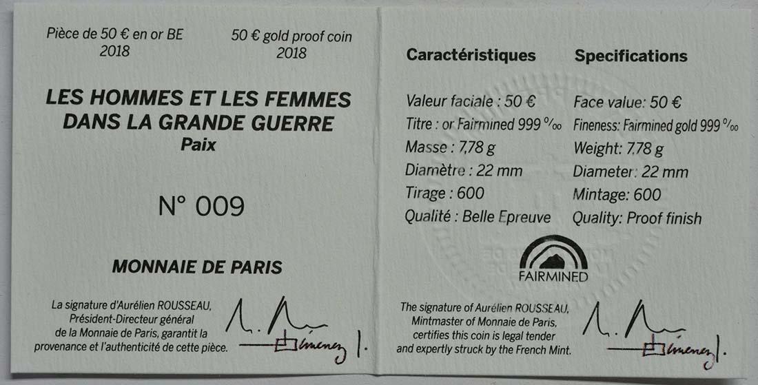 Zertifikat:Frankreich : 50 Euro Frieden - Fairmined Gold  2018 PP