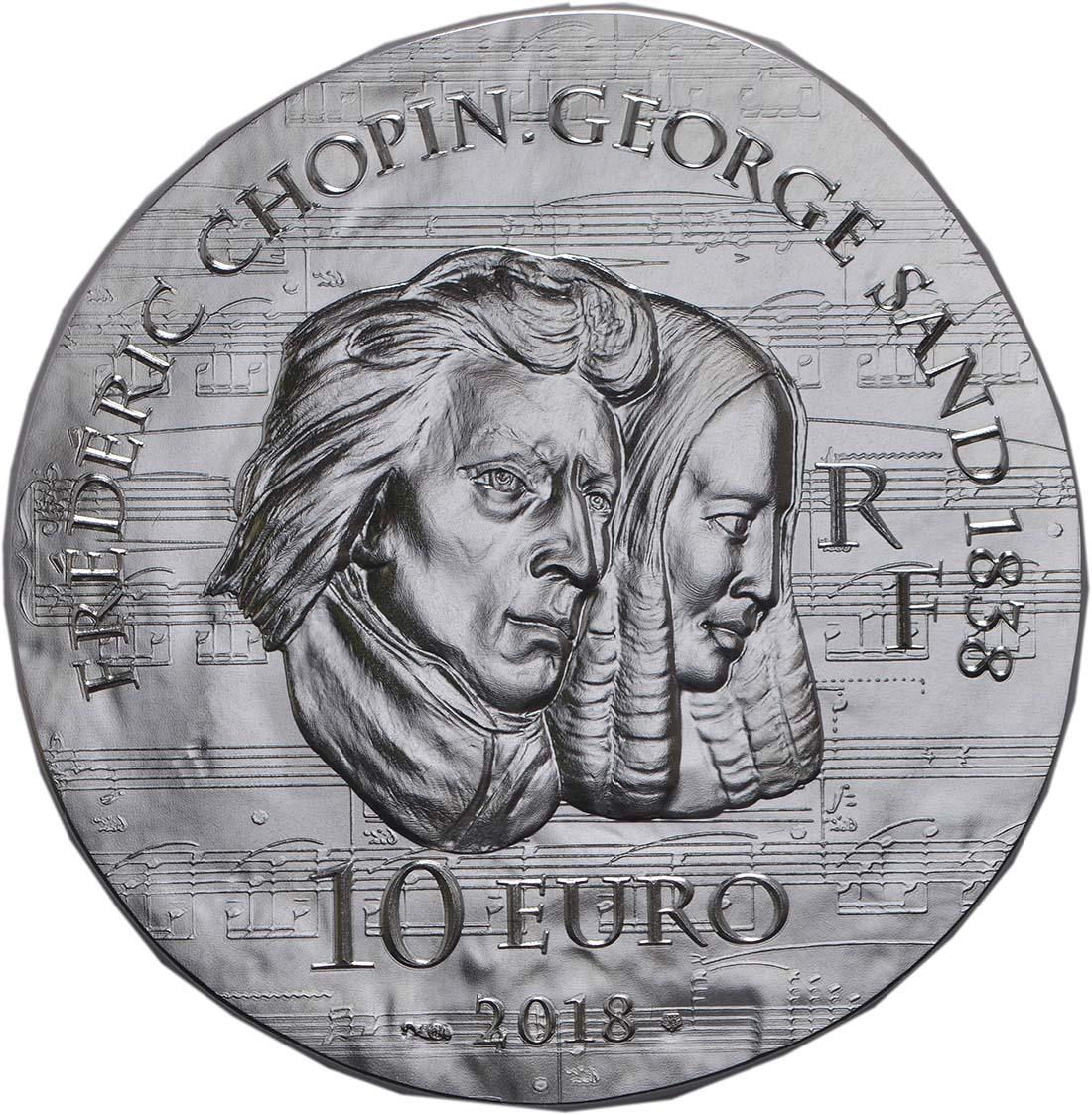 Rückseite:Frankreich : 10 Euro George Sand / Frederic Chopin  2018 PP