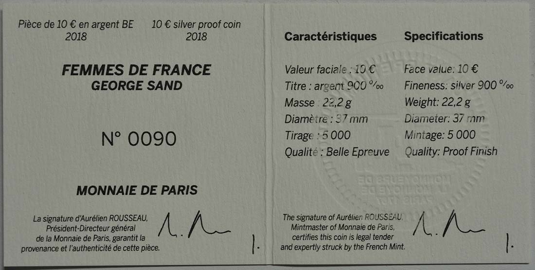 Zertifikat:Frankreich : 10 Euro George Sand / Frederic Chopin  2018 PP