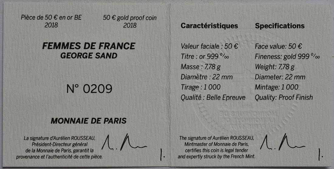 Zertifikat:Frankreich : 50 Euro George Sand / Frederic Chopin  2018 PP