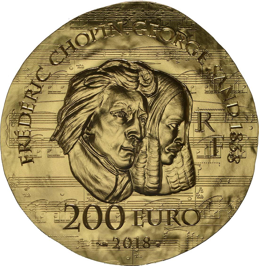 Rückseite:Frankreich : 200 Euro George Sand / Frederic Chopin  2018 PP