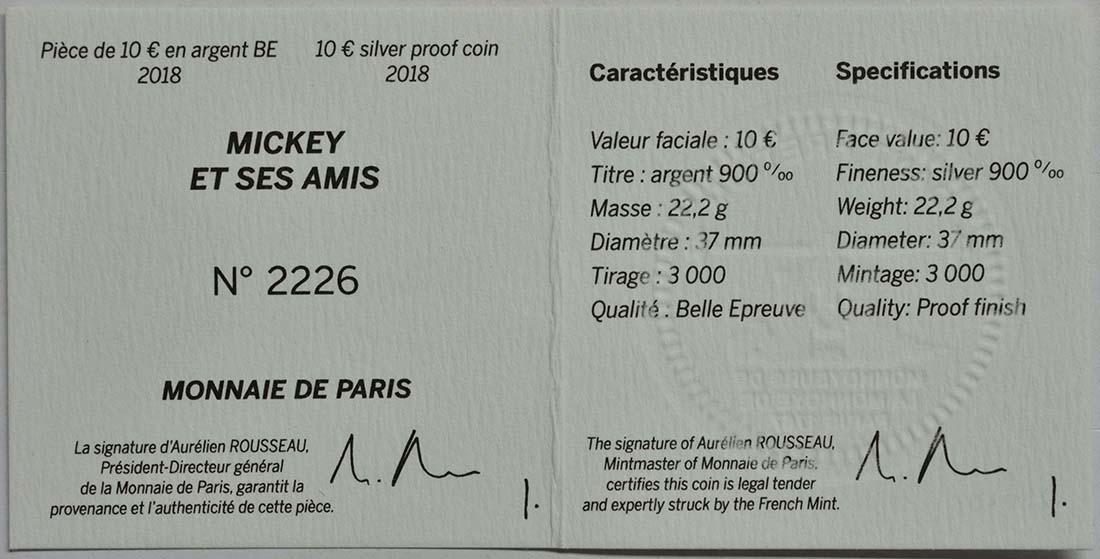 Zertifikat:Frankreich : 10 Euro Mickey und seine Freunde  2018 PP