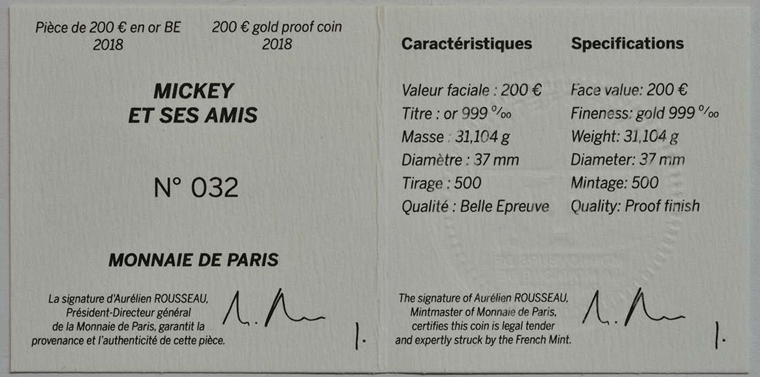 Zertifikat:Frankreich : 200 Euro Mickey und seine Freunde  2018 PP