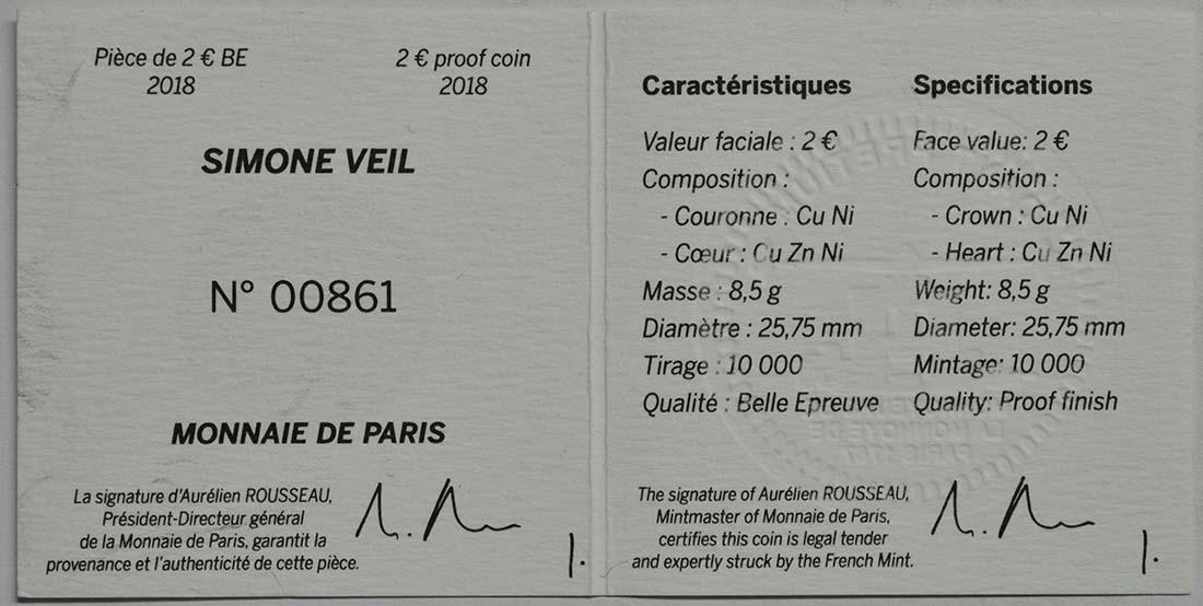 Zertifikat:Frankreich : 2 Euro Simone Veil  2018 PP