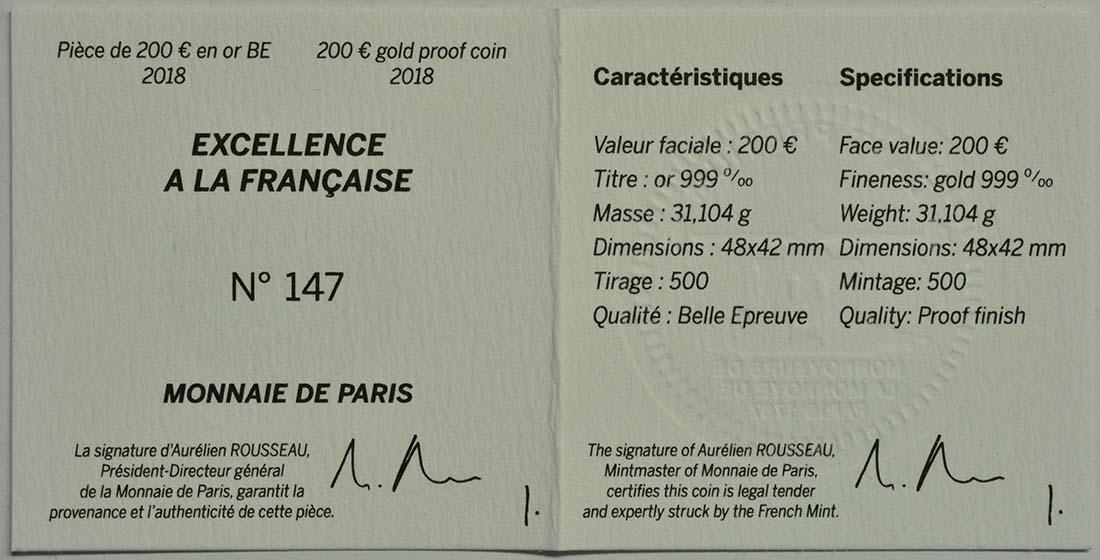 Zertifikat:Frankreich : 200 Euro Boucheron in Form eines Efeublattes  2018 PP