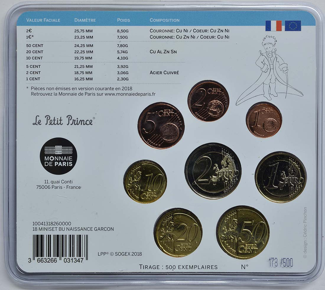 Zertifikat:Frankreich : 3,88 Euro Mini KMS Jungen  2018 Stgl.