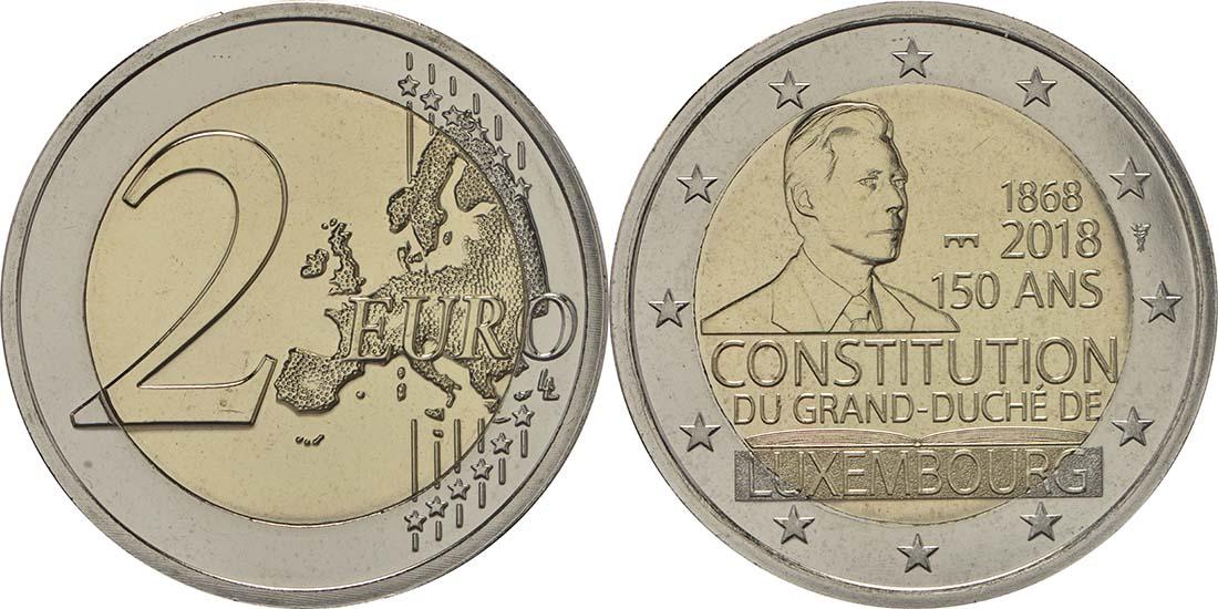 Übersicht:Luxemburg : 2 Euro 150 Jahre Verfassung - Münzzeichen Brücke Servaasbrug  2018 Stgl.