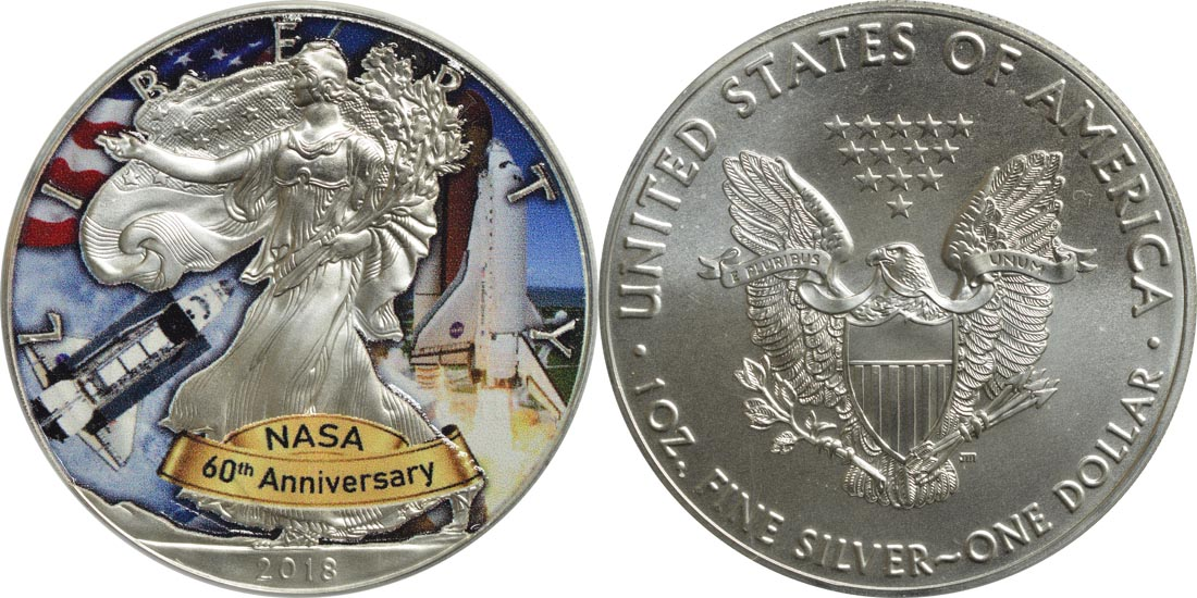 USA : 1 Dollar Silber Eagle - 60 Jahre NASA - Space Shuttle  2018 Stgl.